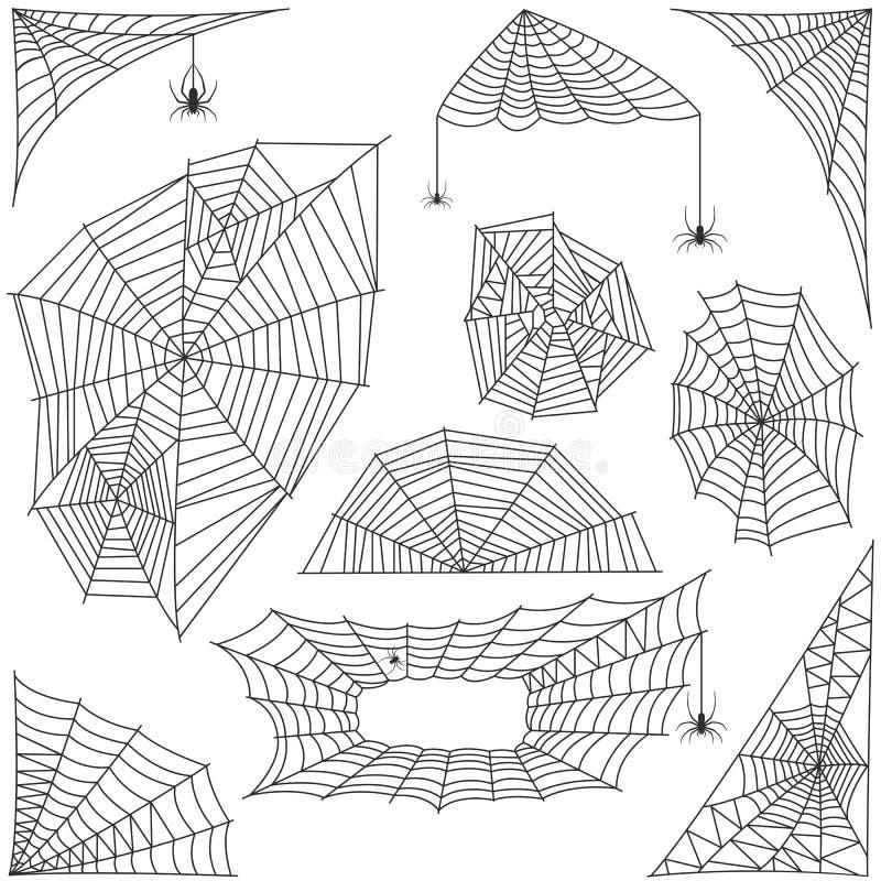Sistema del vector de la silueta del web de araña ilustración del vector