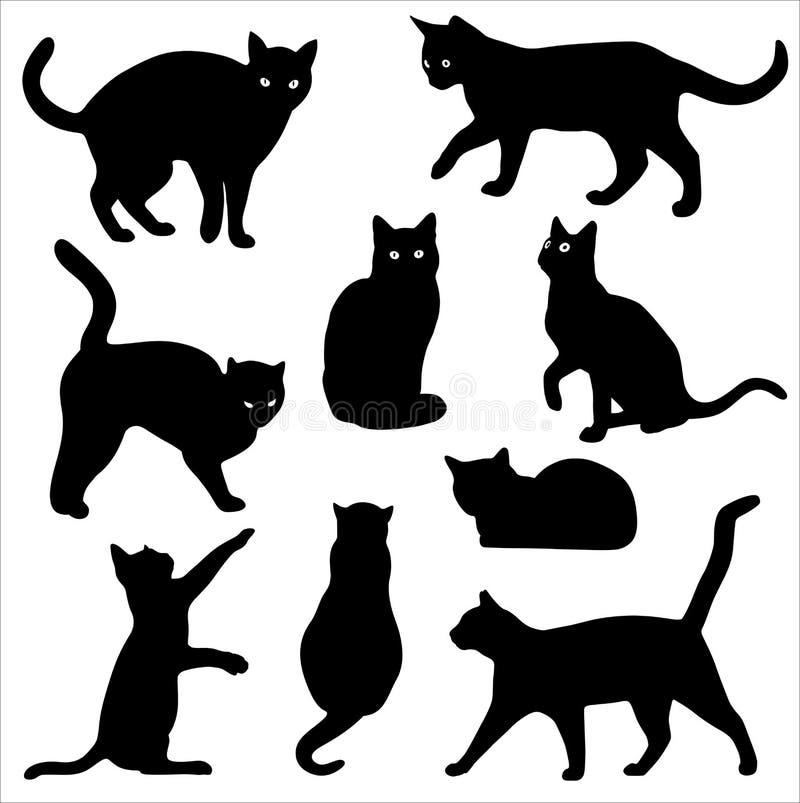 Sistema del vector de la silueta del gato aislado en el fondo blanco stock de ilustración