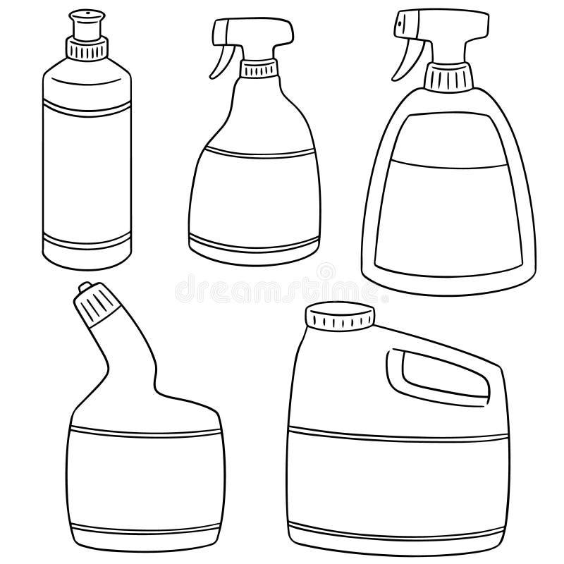 Sistema del vector de la solución de la limpieza del cuarto de baño libre illustration