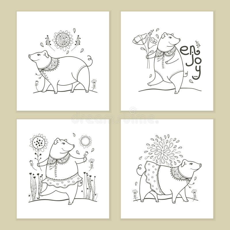 Sistema del vector de la tarjeta de felicitación con el cerdo divertido lindo del negro del esquema aislado en el fondo blanco Sí libre illustration