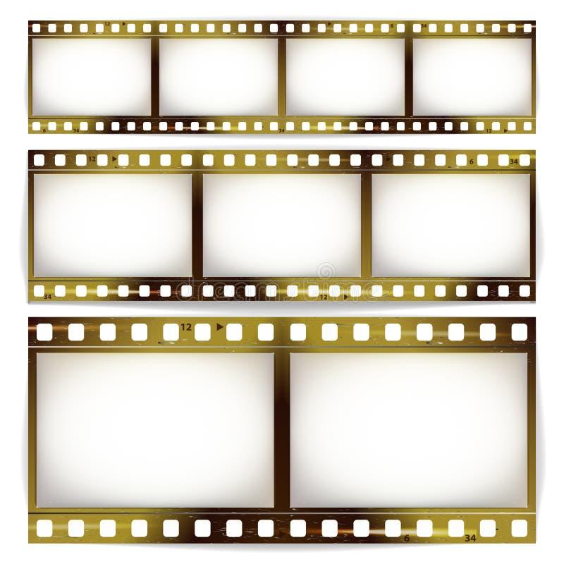 Sistema del vector de la tira de la película Cine del espacio en blanco de la tira del marco de la foto rasguñado aislado en el f libre illustration