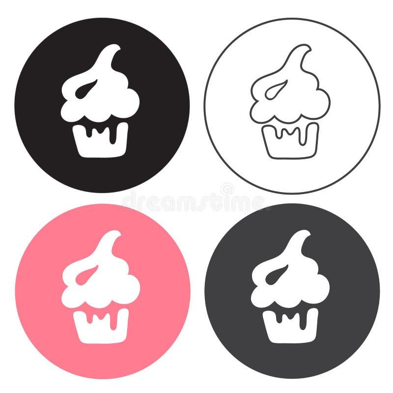 Sistema del vector de la torta Cuatro dulces en estilo del negro, de la línea y del color stock de ilustración