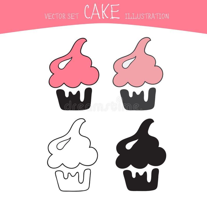Sistema del vector de la torta Cuatro dulces en estilo del negro, de la línea y del color libre illustration