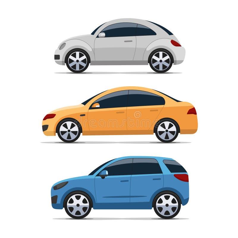 Sistema del vector de la vista lateral del coche, estilo plano colorido libre illustration