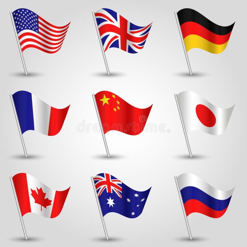 Sistema del vector de las banderas - americanas, inglés, alemán, francés, chino, japonés, canadiense, australiano y ruso imagenes de archivo