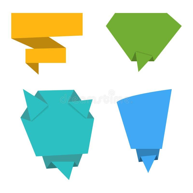 Sistema del vector de las banderas de papel de la papiroflexia plana Burbujas del discurso del papel Diseño plano ilustración del vector