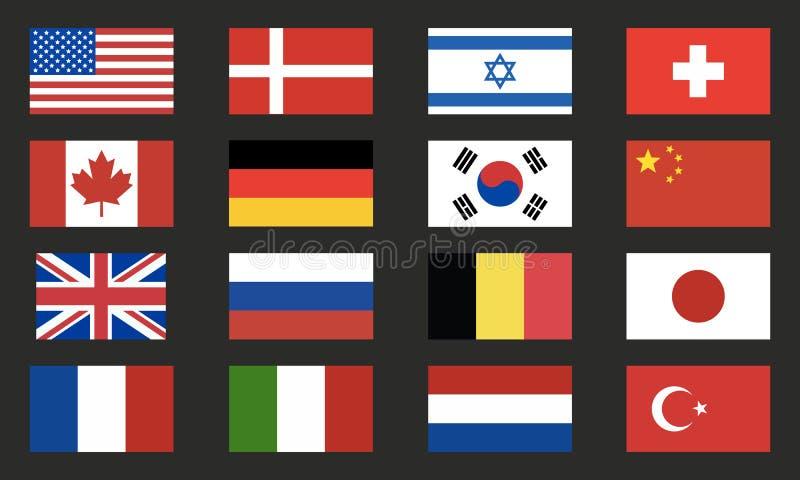 Sistema del vector de las banderas del mundo Iconos de las banderas del mundo aislados en fondo negro Elementos del diseño stock de ilustración