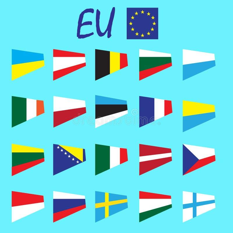 Sistema del vector de las banderas nacionales del estado de los países de Europa, europeo Unian ilustración del vector