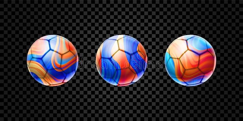 Sistema del vector de las bolas abstractas 3d para el fútbol aisladas en fondo transparente Diseño líquido con la brocha coloread ilustración del vector