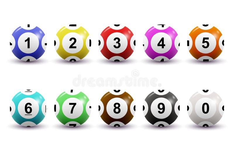Sistema del vector de las bolas numeradas coloreadas de la lotería para el juego del bingo Concepto del keno de la loteria Bolas  libre illustration