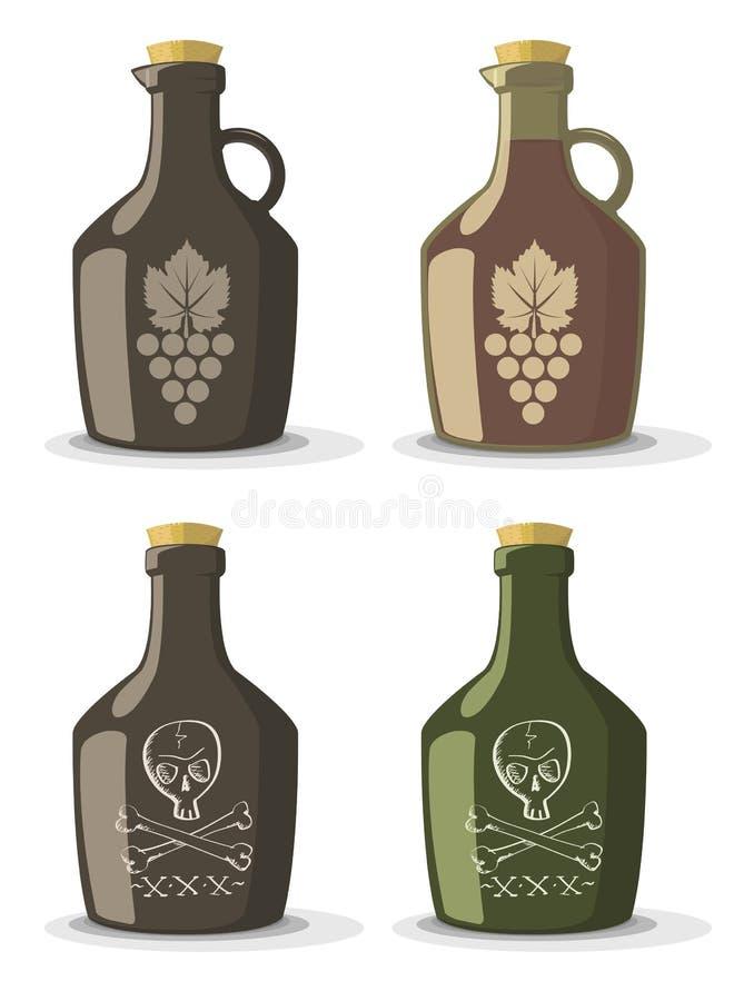 Sistema del vector de las botellas para el vino o el ron ilustración del vector