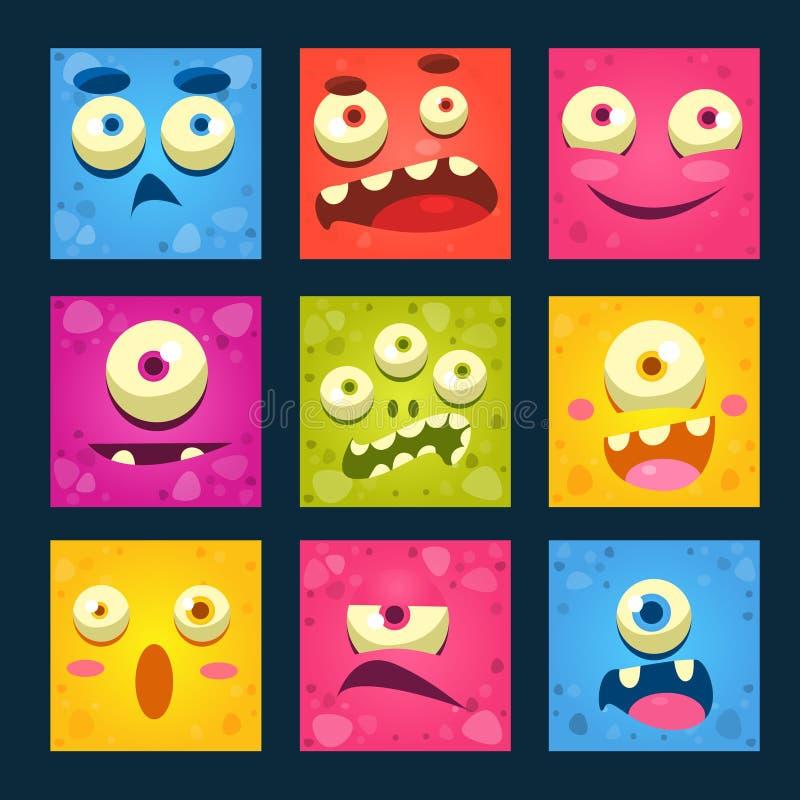 Sistema del vector de las caras del monstruo de la historieta ilustración del vector
