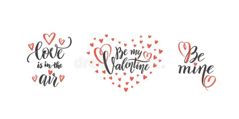 Sistema del vector de las citas a día de San Valentín, concepto del texto de las frases del amor de las letras de la mano del amo ilustración del vector
