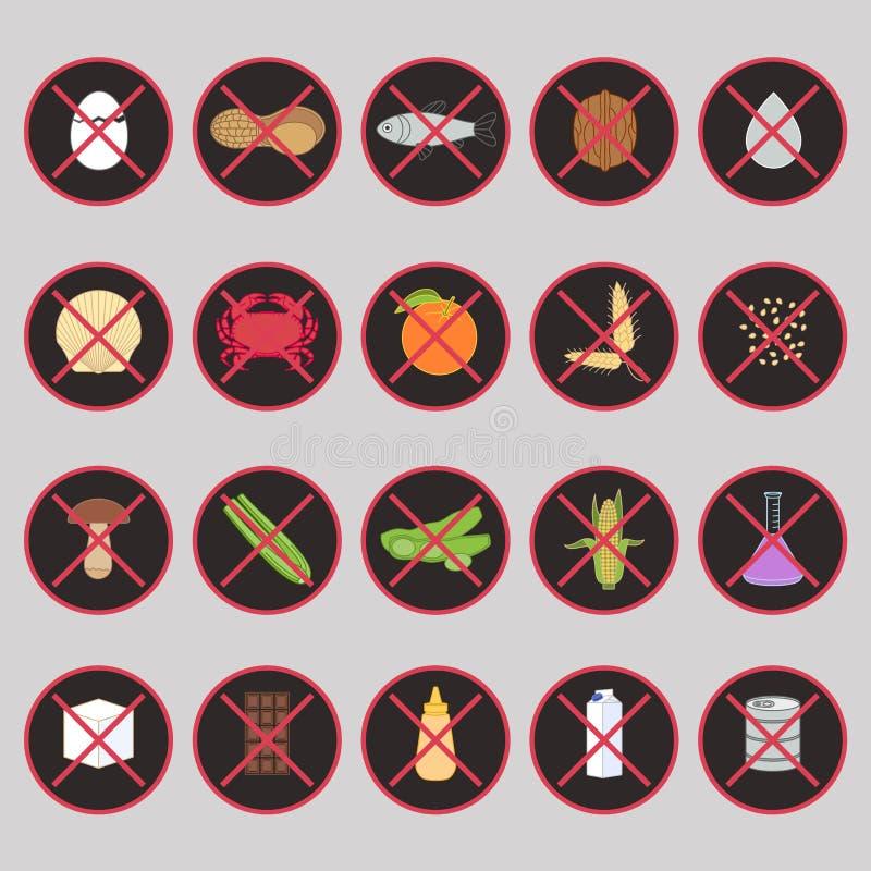 Sistema del vector de las etiquetas de advertencia para los alergénicos de la comida ilustración del vector