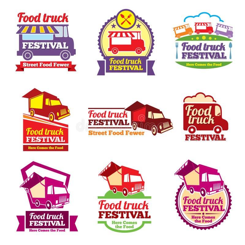 Sistema del vector de las etiquetas del color del festival de la comida de la calle ilustración del vector