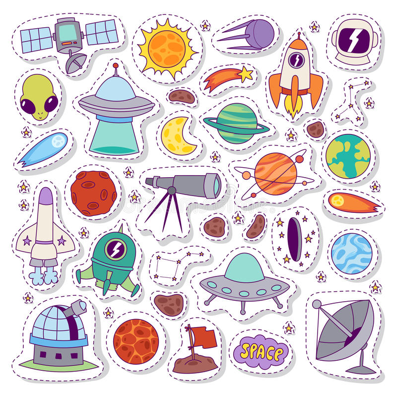 Sistema del vector de las etiquetas engomadas de los iconos de la astronomía de la Sistema Solar stock de ilustración