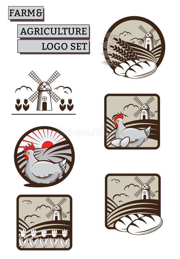 Sistema del vector de las etiquetas, logotipos, para la granja y la agricultura Makin fresco, alimento biológico stock de ilustración