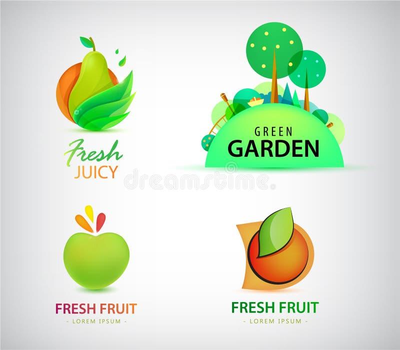 Sistema del vector de las etiquetas orgánicos, de logotipos bio, del eco y de la naturaleza de la comida y Fruta, pera fresca de  stock de ilustración