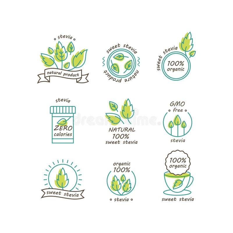 Sistema del vector de las etiquetas del stevia, logotipos, insignias, iconos Elemento natural del diseño del edulcorante Icono or ilustración del vector