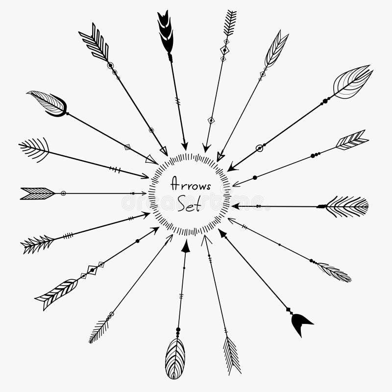 Sistema del vector de las flechas de Boho para la decoración ilustración del vector