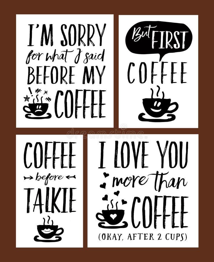 Sistema del vector de las frases de las letras del tiempo del café de la diversión stock de ilustración