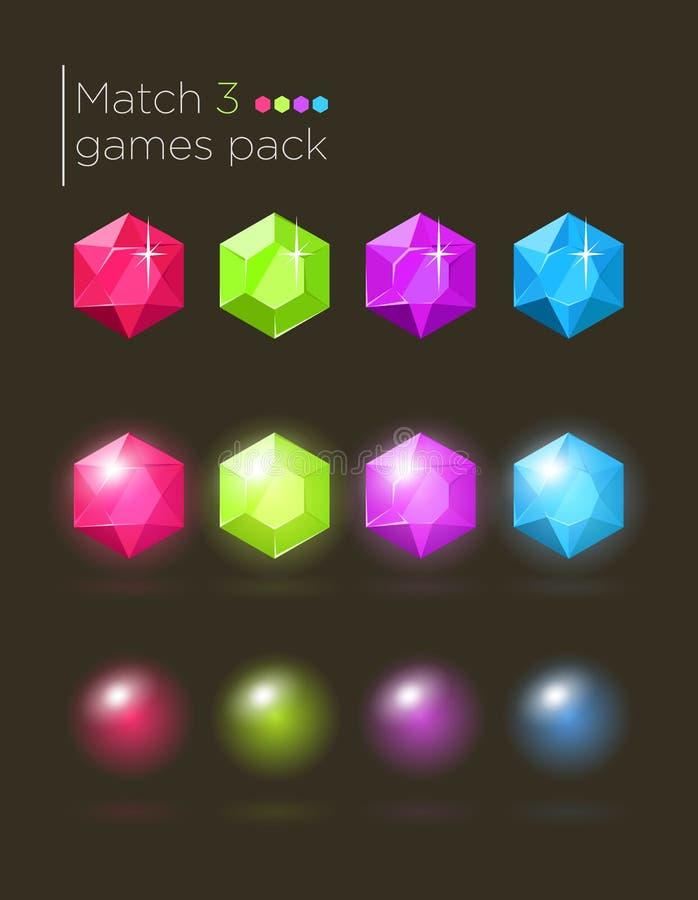 Sistema del vector de las gemas para los juegos casuales ilustración del vector