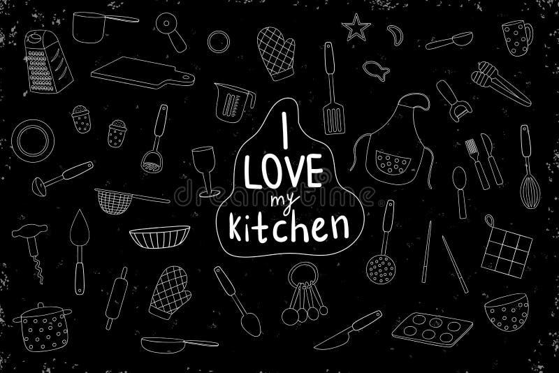 Sistema del vector de las herramientas blancas de la cocina en fondo negro Paquete monocrom?tico del delantal, cubiertos, tajader ilustración del vector