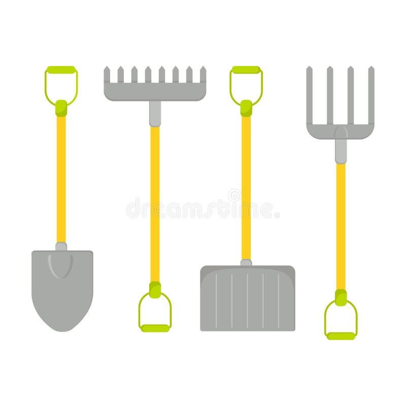 Sistema del vector de las herramientas para cultivar un huerto Colecci?n que cultiva un huerto Icono de la pala y del rastrillo libre illustration