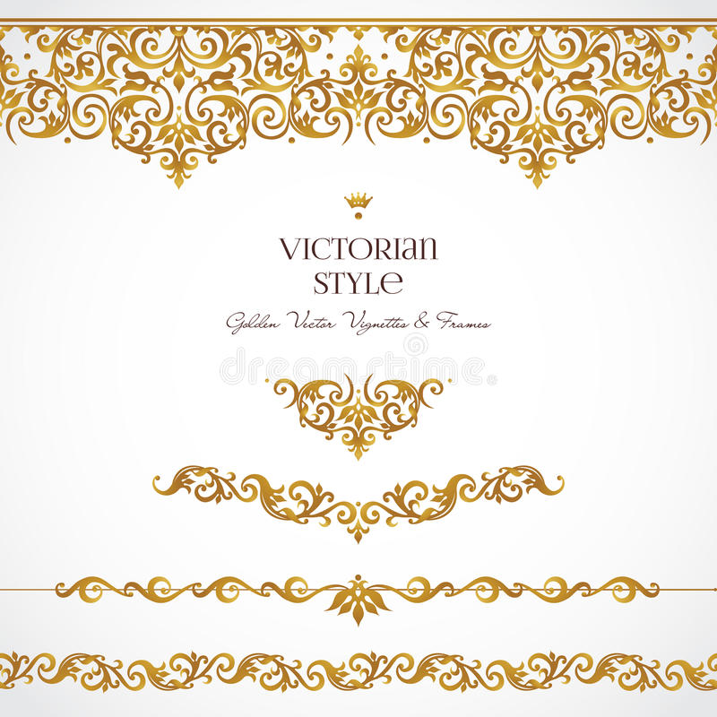 Sistema del vector de las ilustraciones, fronteras en estilo victoriano stock de ilustración