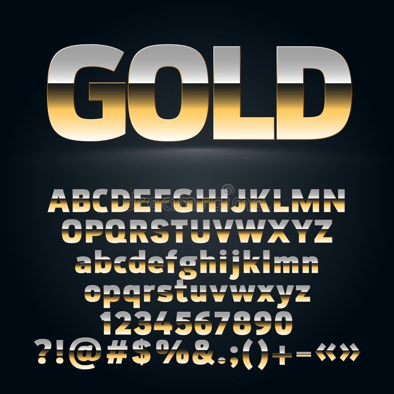 Sistema del vector de las letras de oro del alfabeto, símbolos, números ilustración del vector