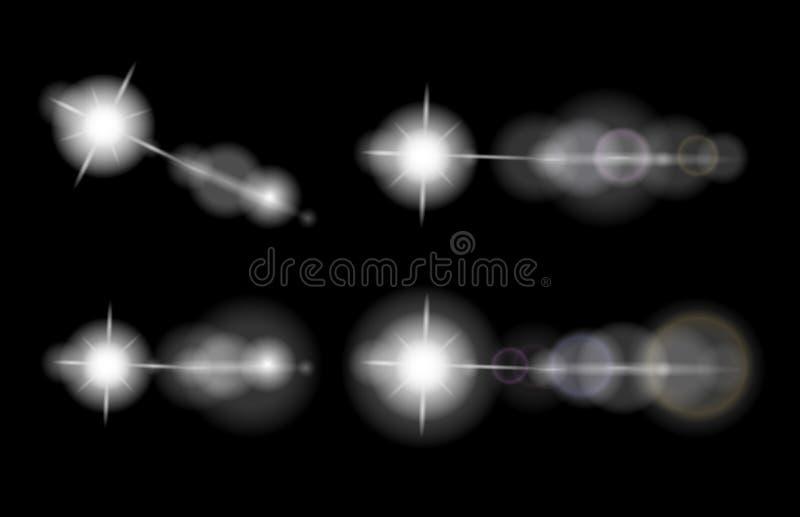 Sistema del vector de las llamaradas de la lente, estrellas, elementos que brillan intensamente ilustración del vector