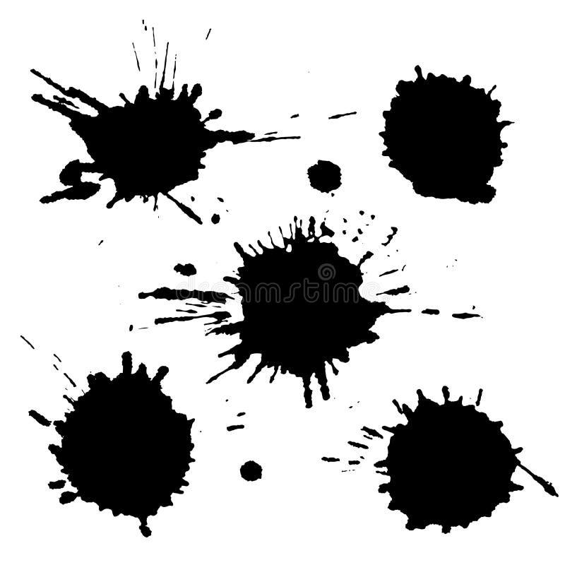 Sistema del vector de las manchas blancas /negras negras de la tinta, descensos y movimientos del cepillo, aislados en el fondo b libre illustration