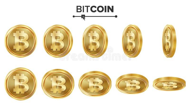 Sistema del vector de las monedas de oro de Bitcoin 3D realista Flip Different Angles Dinero de la moneda de Digitaces Concepto d ilustración del vector