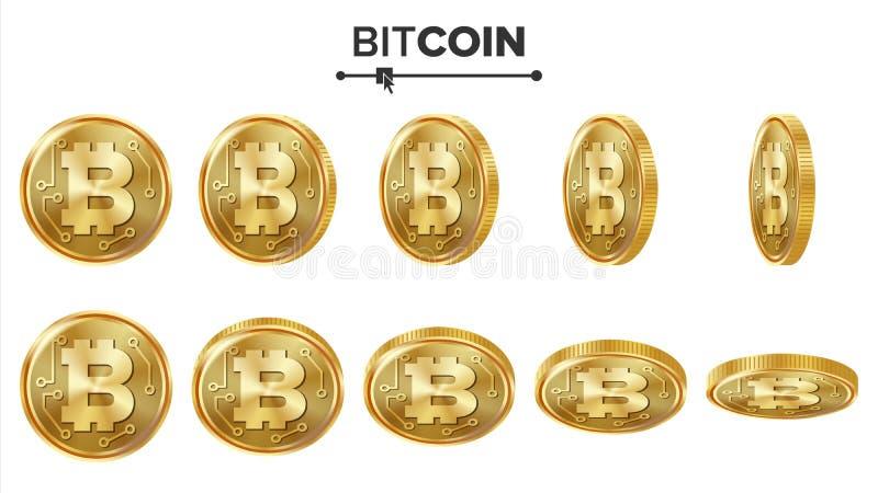 Sistema del vector de las monedas de oro de Bitcoin 3D realista Flip Different Angles Dinero de la moneda de Digitaces Moneda de  stock de ilustración