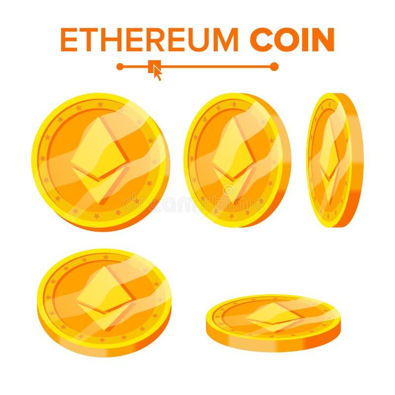 Sistema del vector de las monedas de oro de Ethereum Flip Different Angles Dinero virtual de Ethereum Moneda de Digitaces Plano a libre illustration