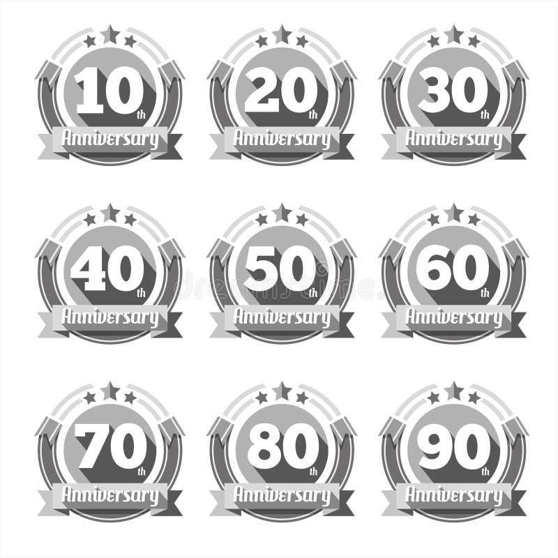 Sistema del vector de las muestras del aniversario stock de ilustración