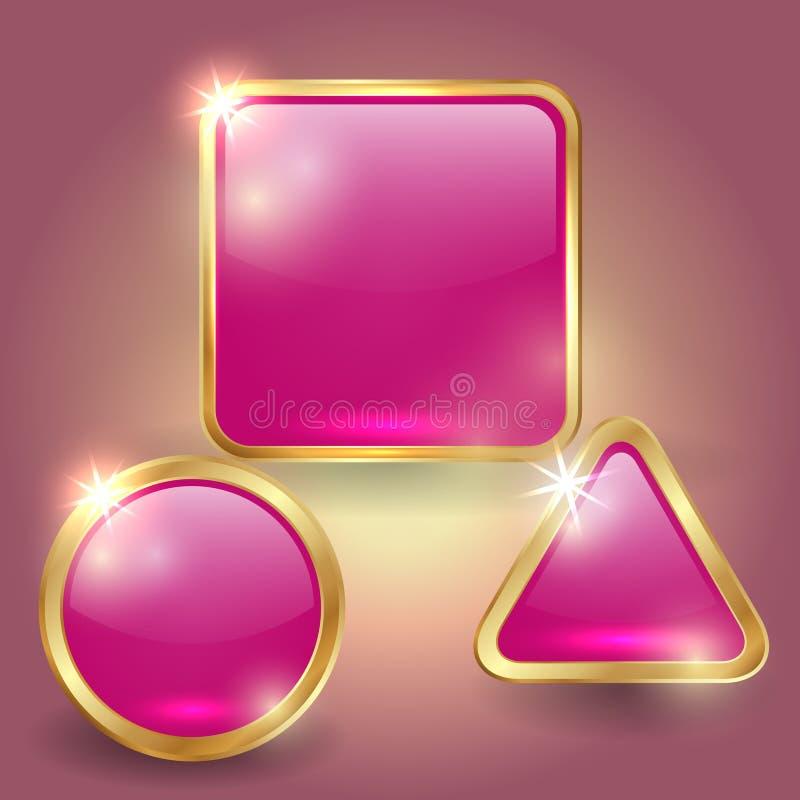 Sistema del vector de las plantillas de cristal del botón ilustración del vector