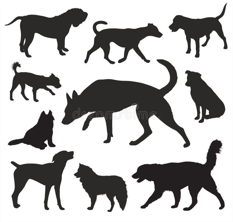Sistema del vector de las siluetas del perro ilustración del vector