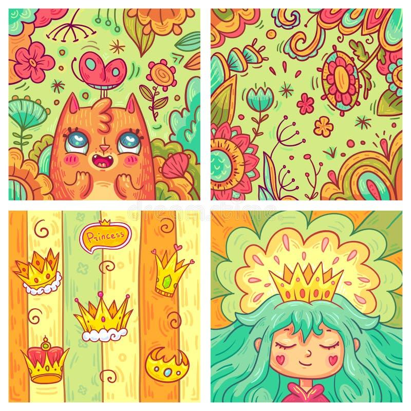 Sistema del vector de las tarjetas de felicitación lindas para los niños en estilo de la historieta imagenes de archivo