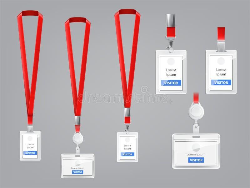 Sistema del vector de las tarjetas de la identificación, insignias con los acolladores rojos ilustración del vector
