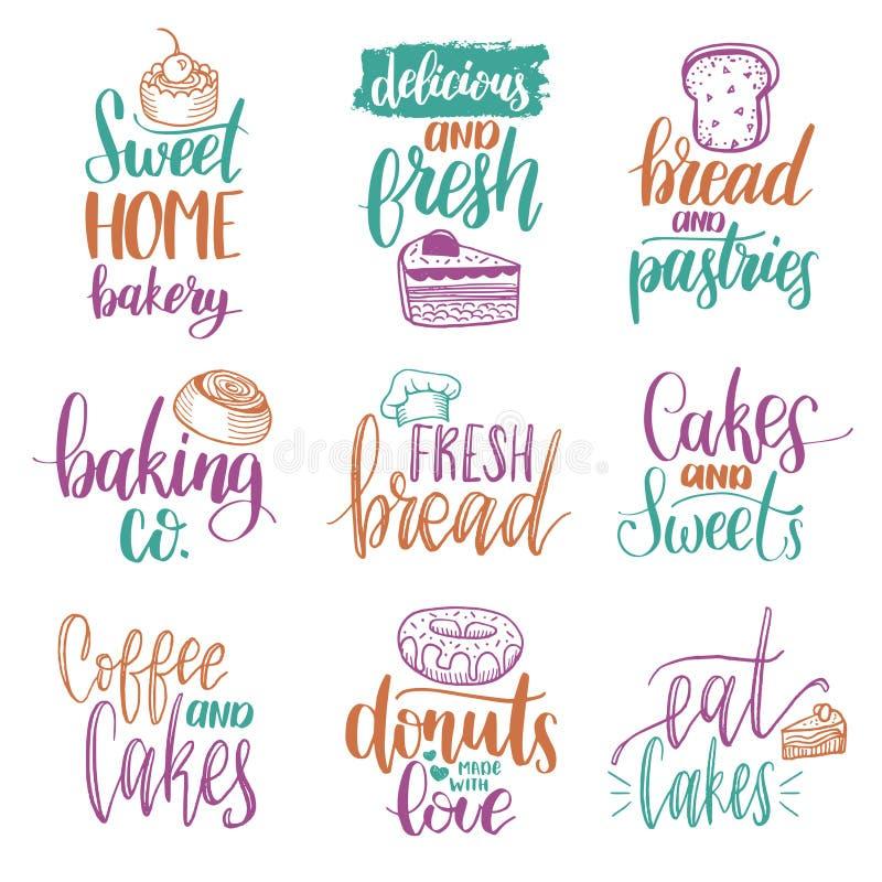 Sistema del vector de letras de la mano de la panadería del vintage Colección de la caligrafía con los ejemplos de la galleta par libre illustration