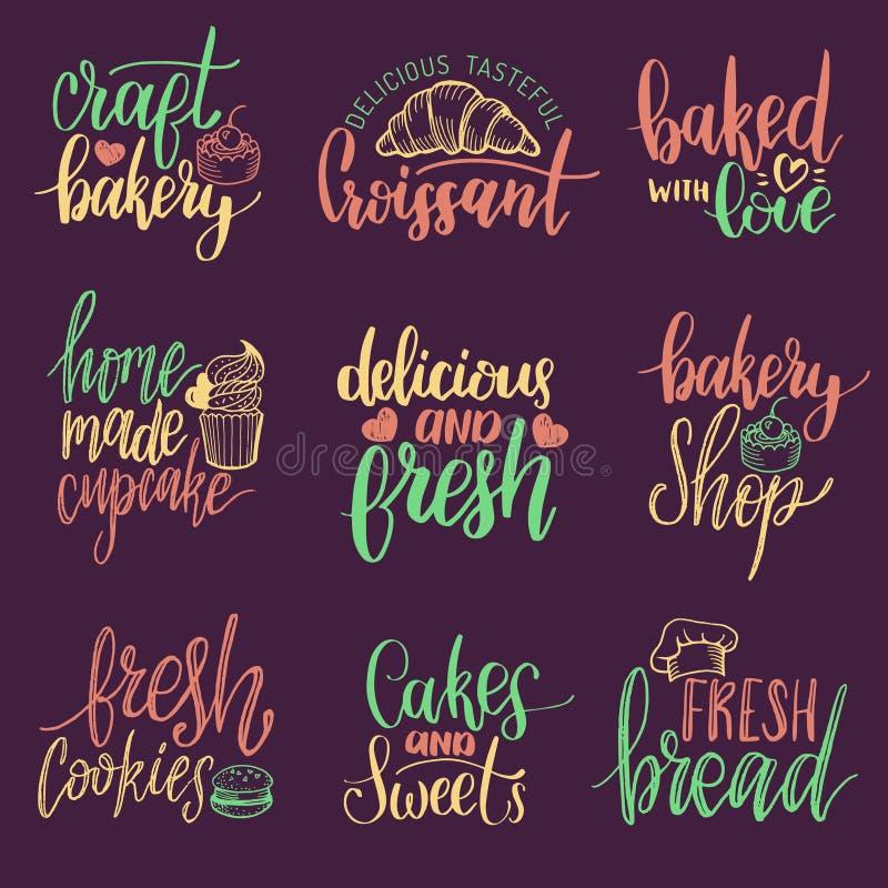 Sistema del vector de letras de la mano de la panadería del vintage Colección de la caligrafía con los ejemplos de la galleta par stock de ilustración