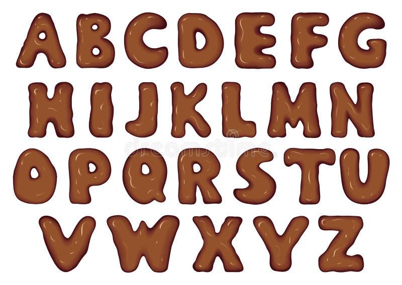 Sistema del vector de letras del chocolate ilustración del vector