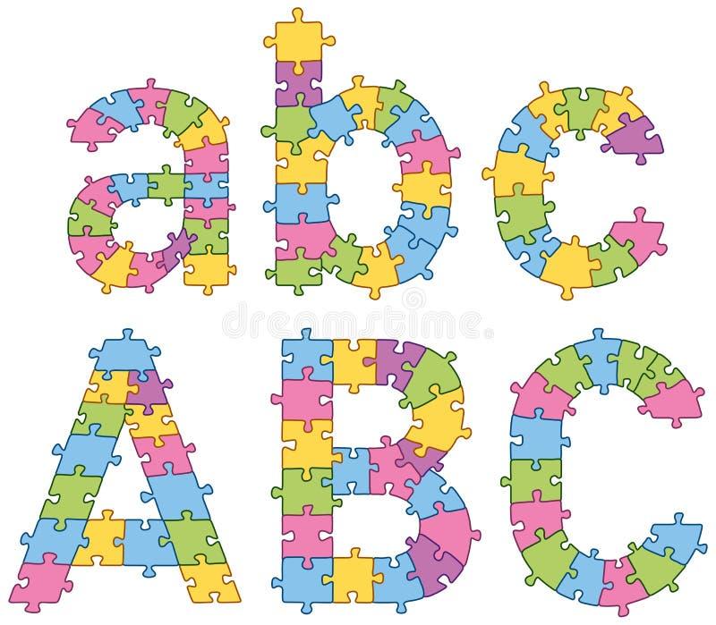 Letras del alfabeto del rompecabezas del rompecabezas ilustración del vector
