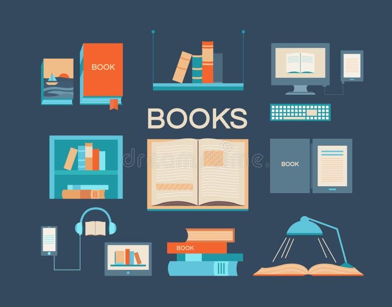 Sistema del vector de libros ilustración del vector