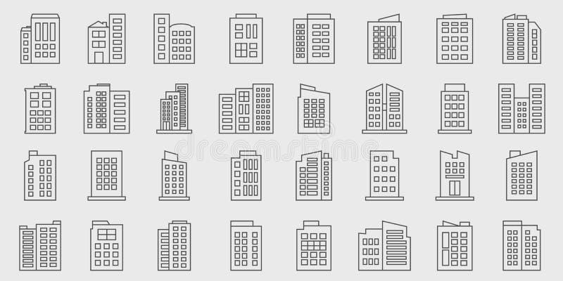 Sistema del vector de Line Building Icons, Company stock de ilustración