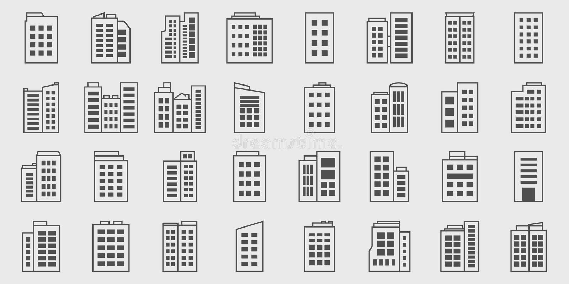 Sistema del vector de Line Icons Building, Company stock de ilustración