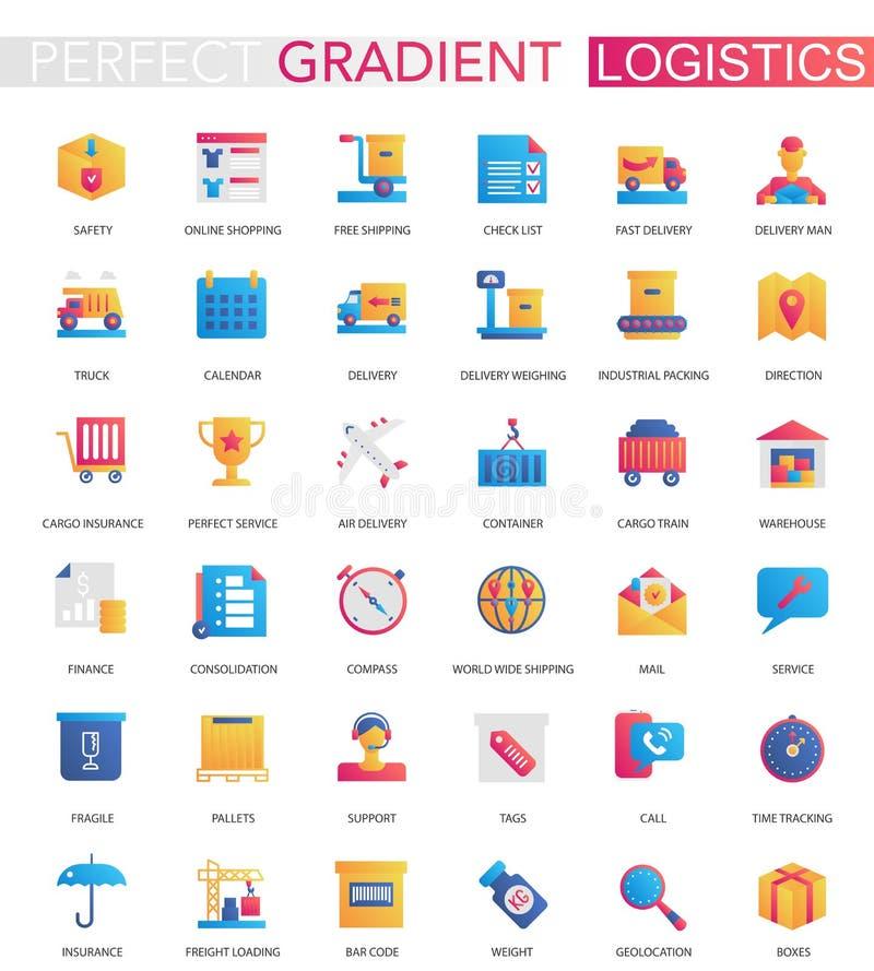 Sistema del vector de logística plana de moda de la pendiente, transporte, cargo, iconos de la entrega stock de ilustración