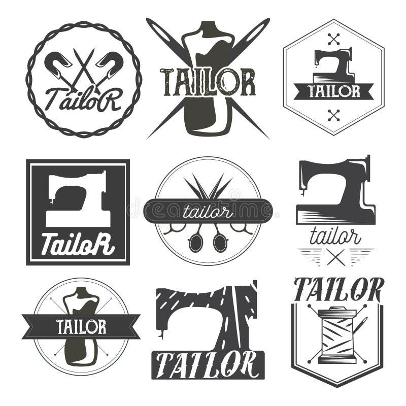 Sistema del vector de logotipo del vintage, de elementos del diseño y de emblemas de costura Etiquetas de la tienda del sastre stock de ilustración