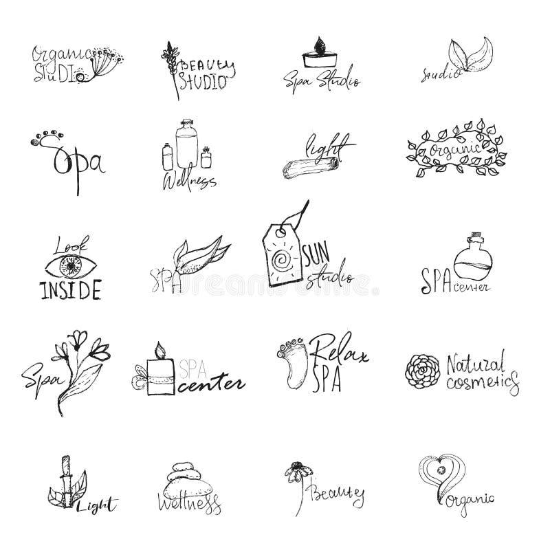 Sistema del vector de logotipos del balneario de la salud - muestras naturales y conceptos para los centros de salud, clases de l stock de ilustración